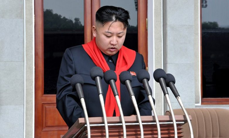 Kim Jong Un delivering a speech at the joint national meeting of the KCU organizations held in celebration of its 66th founding anniversary in June 2012