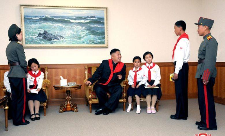 Kim Jong Un talking to KCU members in June 2012