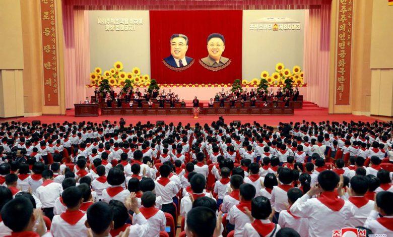 Kim Jong Un attending the Eighth Congress of the Korean Children's Union in June 2017